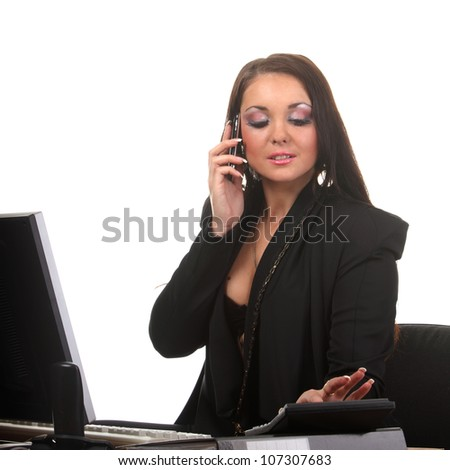 Attractive businesswoman on the workspace