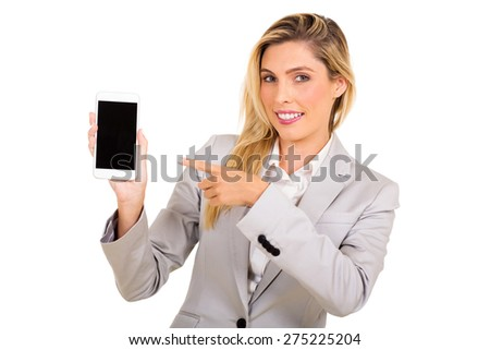 attractive businesswoman pointing at smart phone isolated on white - stock photo