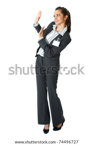 attractive businesswoman shows stop gesture, saying thanks but no, isolated on white - stock photo