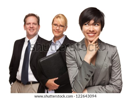 Attractive Businesswoman Smiling with Team Isolated on a White Background. - stock photo