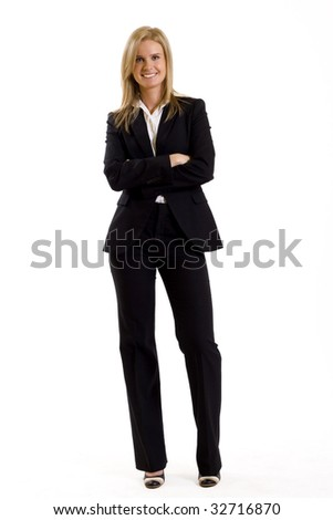 attractive businesswoman standing on a white background - stock photo