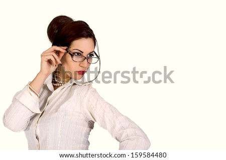 attractive businesswoman wearing eyeglasses - stock photo