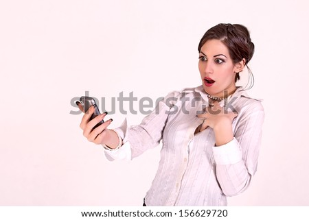 attractive businesswoman with cell phone  - stock photo