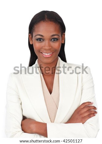 Attractive businesswoman with folded arms isolated on a white background - stock photo
