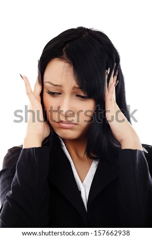 Attractive businesswoman with headache isolated on white - stock photo