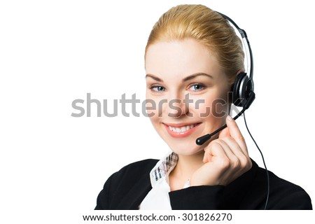 attractive businesswoman with headset