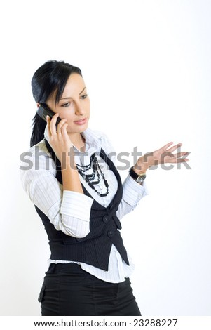 attractive businesswoman with mobile phone - stock photo