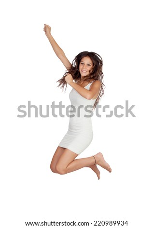 Attractive casual girl jumping isolated on a white background - stock photo