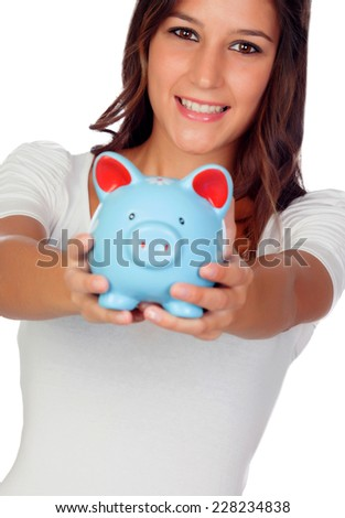 Attractive casual girl with moneybox isolated on a white background - stock photo