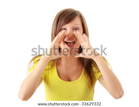 Attractive casual woman screaming (shouting) through hands isolated on white