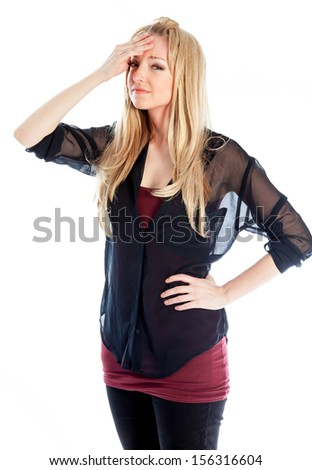 Attractive caucasian blond girl isolated on a white background - stock photo