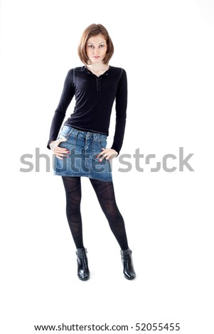 Attractive caucasian lady on white background - stock photo
