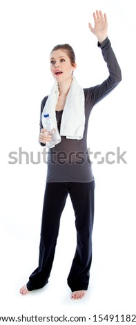 Attractive caucasian woman wearing a sport outfit in her 30 isolated on a white background - stock photo