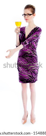 Attractive caucasian woman wearing an evening dress in her 30 isolated on a white background - stock photo