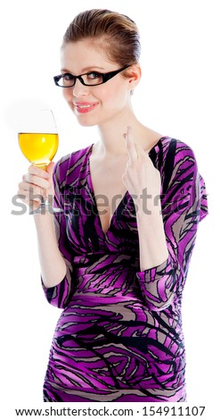 Attractive caucasian woman wearing an evening dress in her 30 isolated on a white background