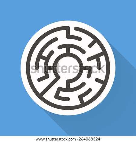 attractive circular maze isolated on bright blue background - stock photo