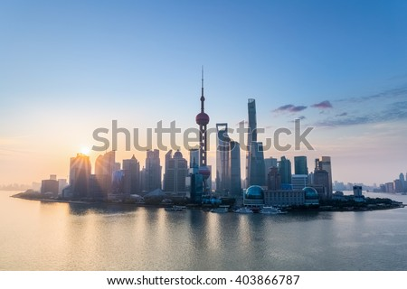 attractive city skyline in shanghai on the early morning
