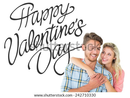 Attractive couple embracing and smiling against happy valentines day - stock photo