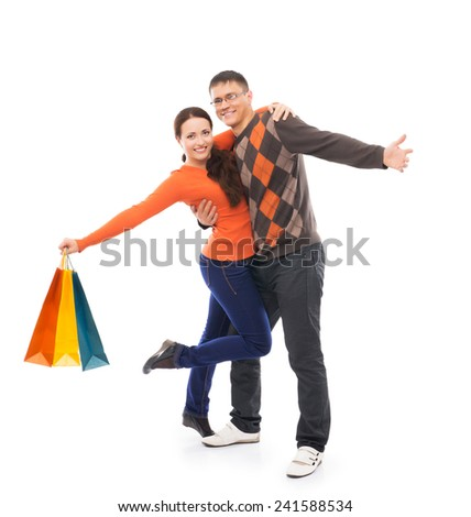 Attractive couple isolated on white - stock photo