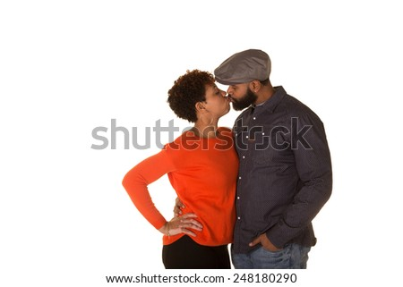 Attractive couple kissing - stock photo