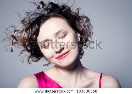 attractive curly girl with short hair - stock photo