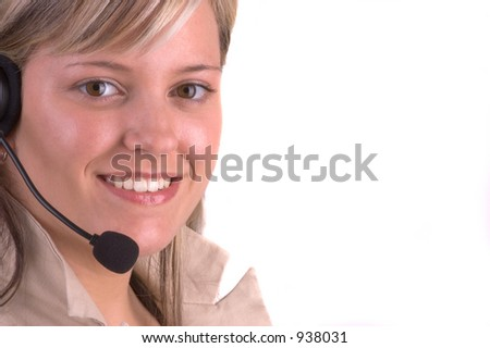 Attractive Customer Service Agent With Telephone Headset (Isolated)