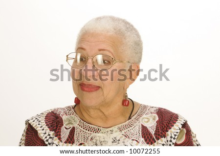 Attractive Elderly African American Woman isolated on white