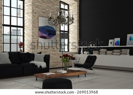 Attractive Elegant Modern Architectural Lounge Room with Black and White Furniture. 3d Rendering. - stock photo
