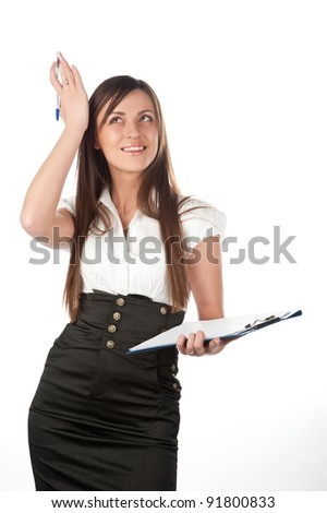 Attractive emotional caucasian young business  woman with A4 sheet tablet, white background studio shot of business woman with paper tablet on white background