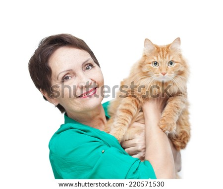 attractive emotional woman 50 years old with red cat isolated on white background