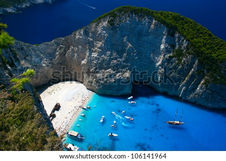 Attractive entrance into the Navagio Beach in Zakynthos Island - stock photo