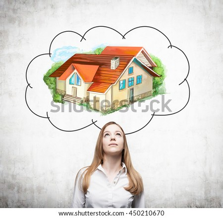 Attractive european businesswoman daydreaming about real estate on concrete background. Mortgage concept - stock photo