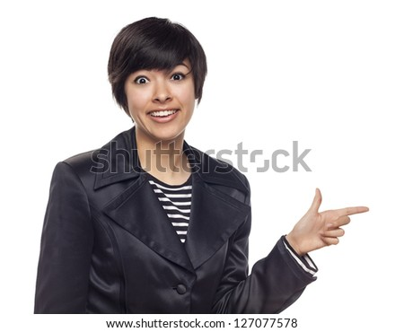 Attractive Expressive Mixed Race Woman Isolated on a White Background.