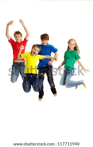 Attractive family in bright T-shirts on a white background - stock photo