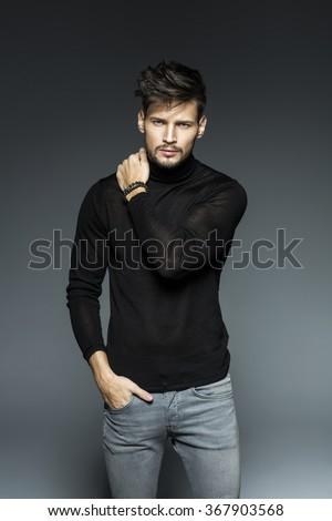 attractive fashion male model  - stock photo