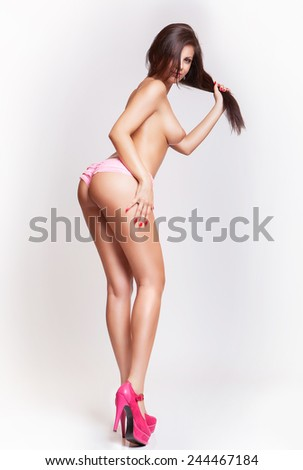 attractive fashion sexy curves girl back, without cellulite - stock photo