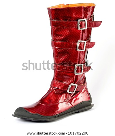 Attractive fashionable red boots, Shoes from a genuine leather on a poliuretanovy sole. man's, female, children's. Green. On a white background, separately