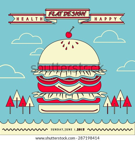 attractive fast food restaurant menu with a huge hamburger in flat line design - stock photo