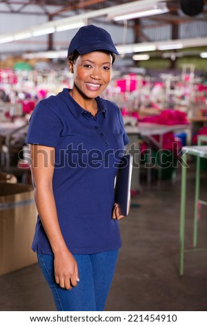 attractive female african textile factory supervisor