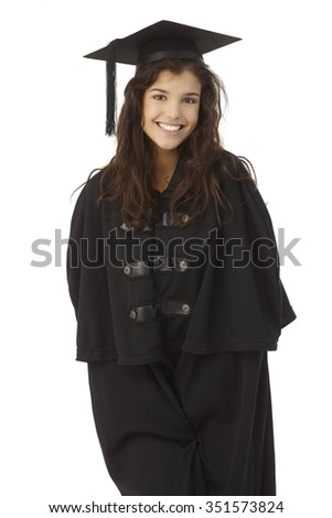 Attractive female graduate smiling in academic dress over white background. - stock photo
