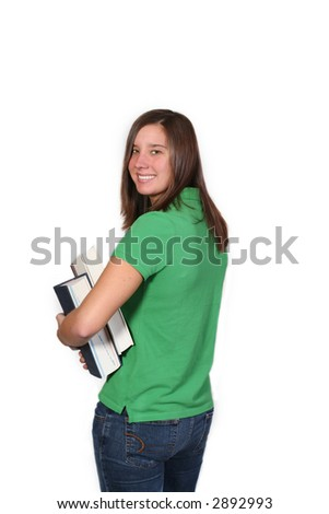 attractive female holding books leaving for school
