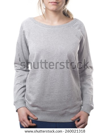 attractive female template pullover in grey isolated on white with clipping path both for background and garment - stock photo