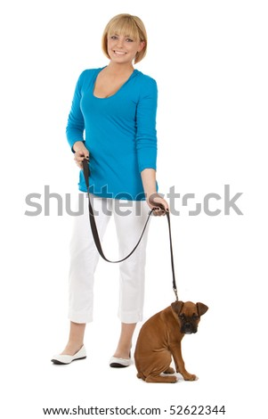 Attractive Female With Dog