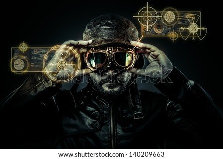attractive fighter pilot with hat and glasses era