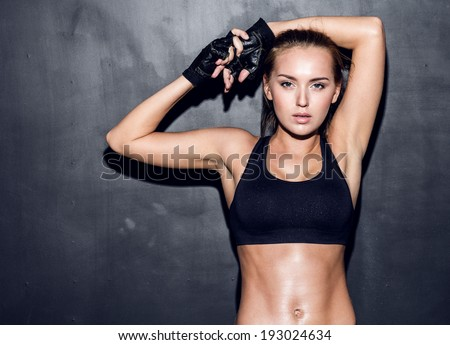 attractive fitness woman, trained female body, lifestyle portrait, caucasian model - stock photo