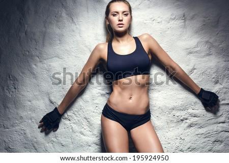 attractive fitness woman, trained female body, lifestyle portrait, caucasian model - stock photo