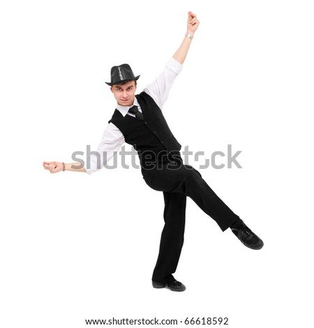 Attractive gentleman dancing against isolated white background - stock photo