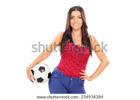 Attractive girl holding a football isolated on white background - stock photo