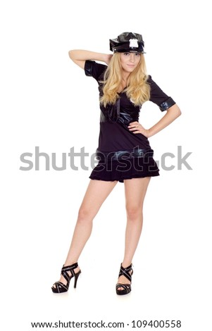 Attractive girl in a uniform of  police officer on a white background