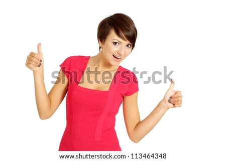 Attractive girl in coral dress on a white background - stock photo